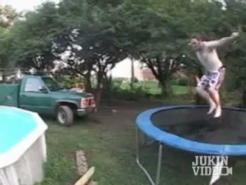 Trampoline Pool Jump Fail