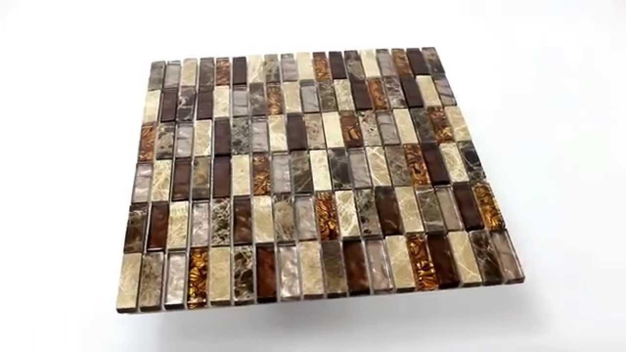 Wanddekor Glas Naturstein Mosaik Fliesen Beige Braun
