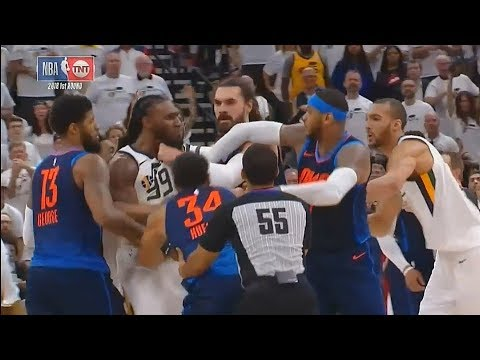 Thunder vs Jazz Fight! Jae Crowder Ejected After Scuffle With Steven Adams and Carmelo Anthony!