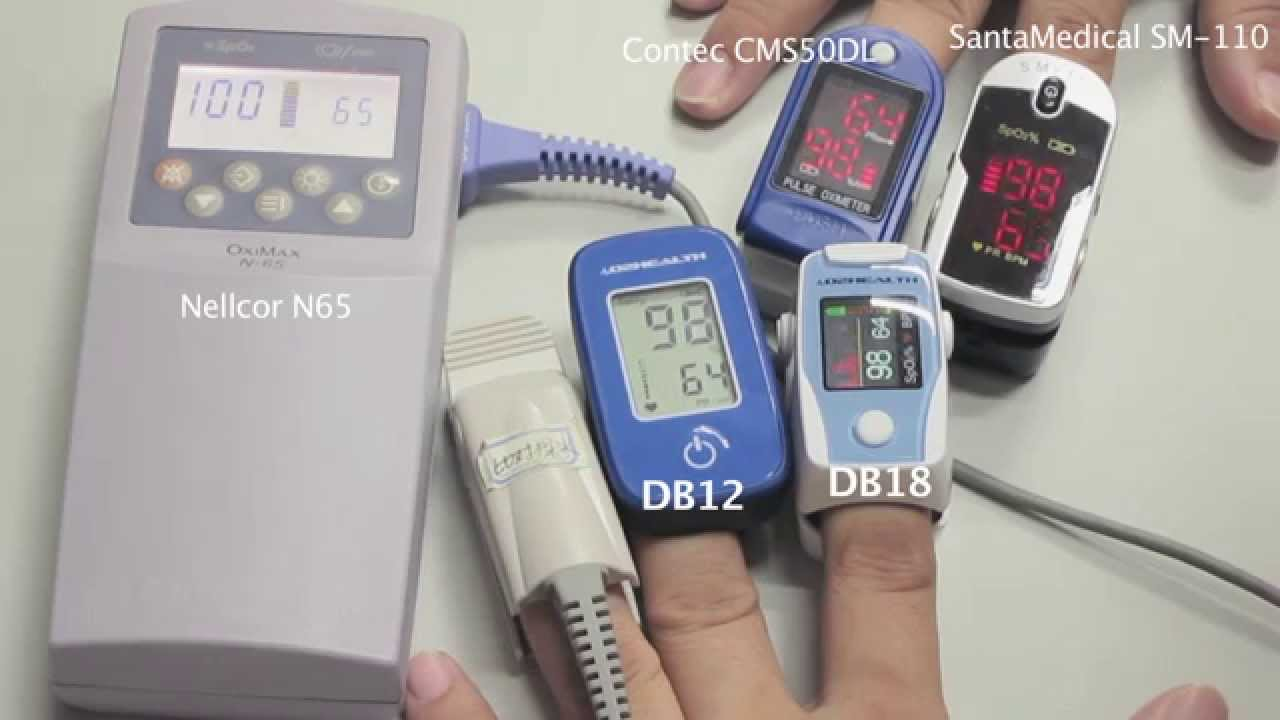 O2Health DB11 and DB12 Accuracy Compared Against Contec CMS50DL,  SantaMedical SM-110, Nellcor N65