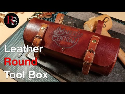 Leather Round Tool Box / Round Leather Saddlebag for the