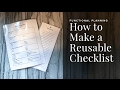 DIY Reusable Checklists | Functional Planning & Free Printables