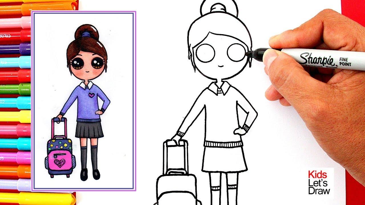 Aprende A Dibujar Una Colegiala Kawaii How To Draw Cute School