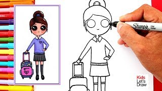 Aprende a dibujar una COLEGIALA Kawaii | How to Draw Cute School Girl Easy