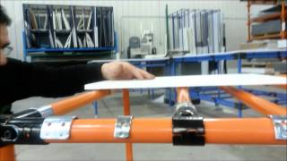Installing shelf supports, clamps and clips on modular material handling system