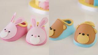 Easy Teddy Bear &amp Bunny Rabbit Fondant Baby Shoes Cake Topper Tutorial
