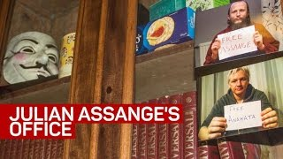 Step inside Julian Assange's office