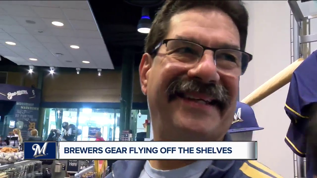 76c359397ea Brewers fans flock to Miller Park for playoff gear - YouTube