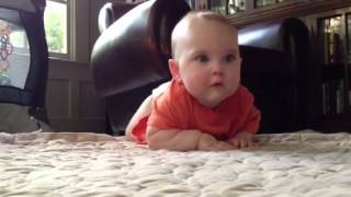 Baby Brett Learning to crawl