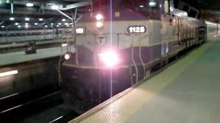 MBTA GP40MC 1125 leaving North Station & F40PH 1004 Entering