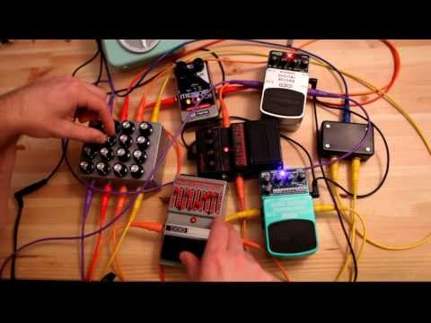 noise synth built from 4x4 matrix mixer and guitar effect pedals