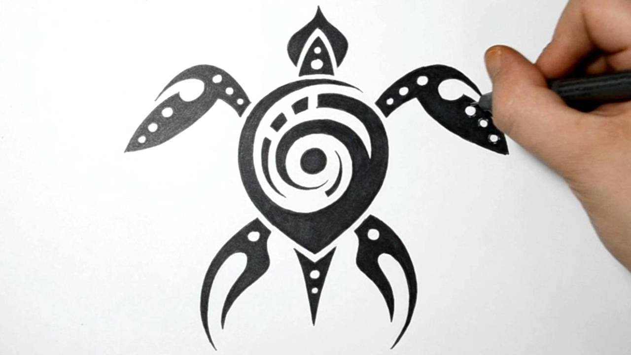 Drawing a Sea Turtle Tribal Tattoo Design Style YouTube