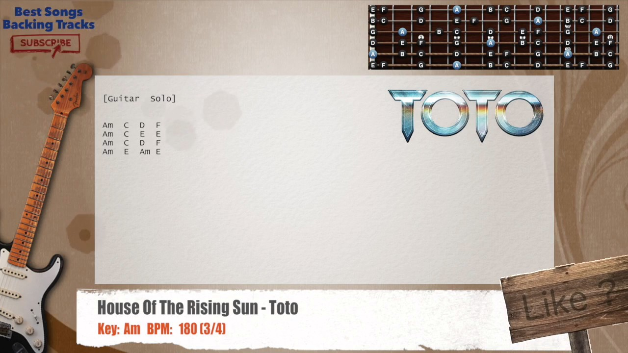 House Of The Rising Sun Toto Guitar Backing Track With Chords And