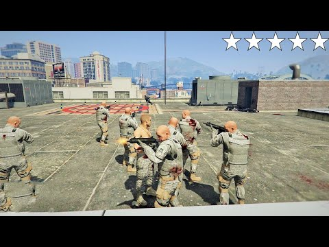 GTA 5 - Military's FIVE STAR COP BATTLE AT THE POLICE STATION!! (GTA V Funny Moment)