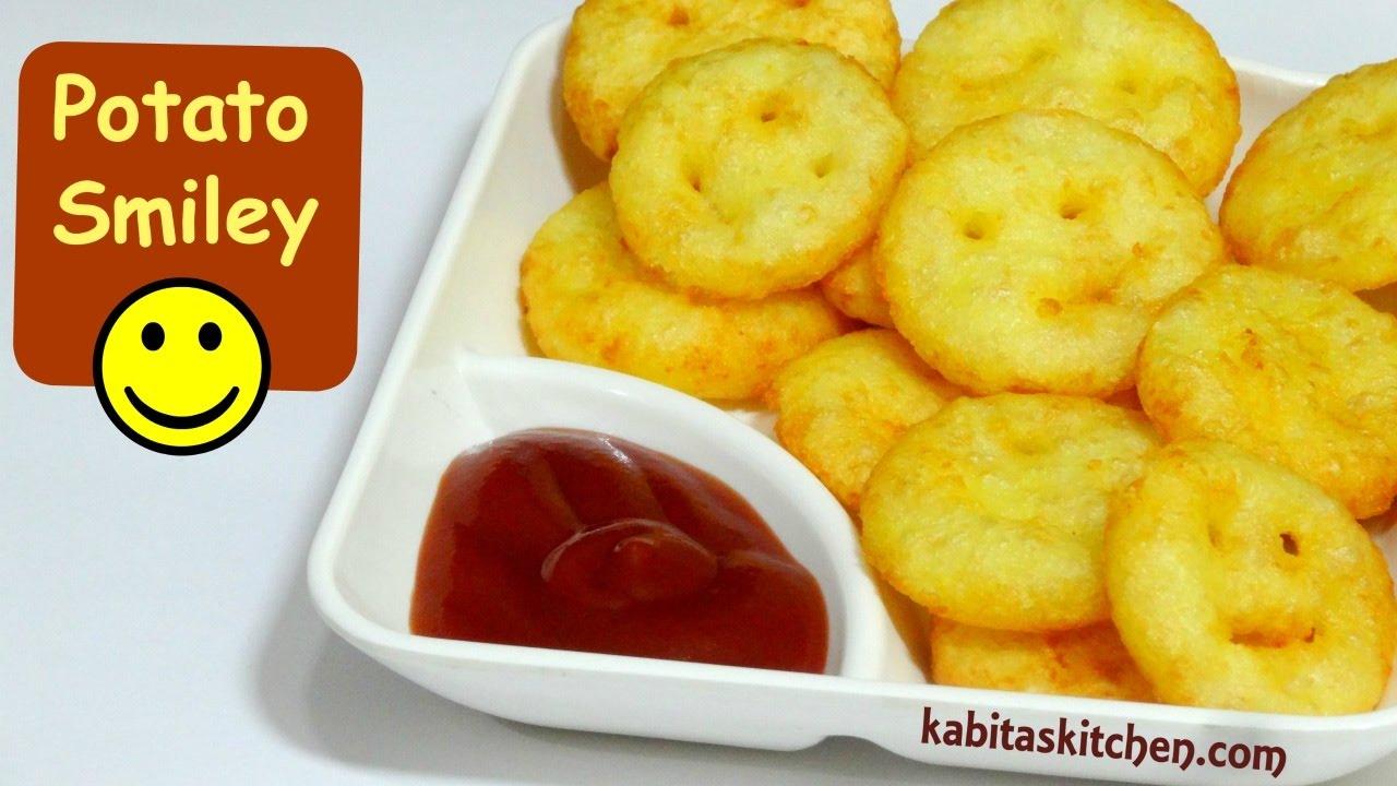 Potato Smiley Recipe   Cheesy Potato Smiley Recipe   How to Make Potato  Smiley   KabitasKitchen