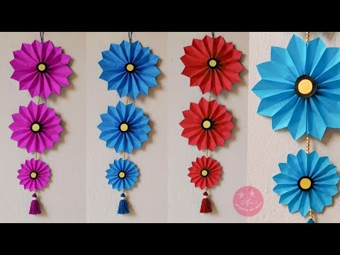 BEAUTIFUL PAPER WALL HANGING | PAPER FLOWEE CRAFT | BEST FROM WASTE