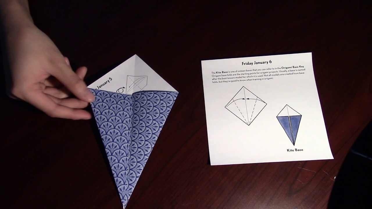 How To Fold A Kite Base Origami Day 6 Easy Youtube