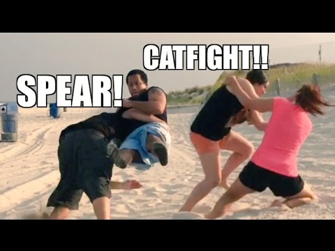 HEEL WIFE CATFIGHT! WILLO GETS REKT in INSANE BEACH WRESTLING!