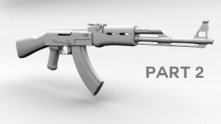 3D AK 47 Model tutorial, Maya part 2
