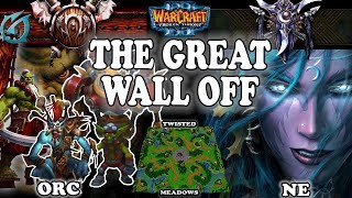 Grubby | Warcraft 3 TFT | 1.30 | ORC v NE on Twisted Meadows - The Great Wall Off