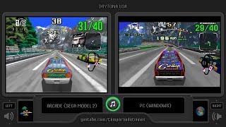 Daytona USA (Arcade vs Pc) Side by Side Comparison | Vc Decide