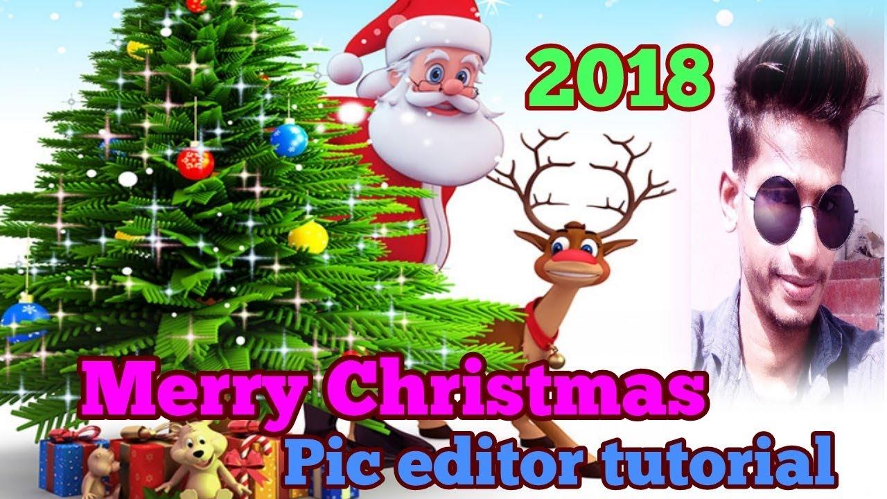 hindienglis merry christmas photo editing tutorial 2018 creative sonu