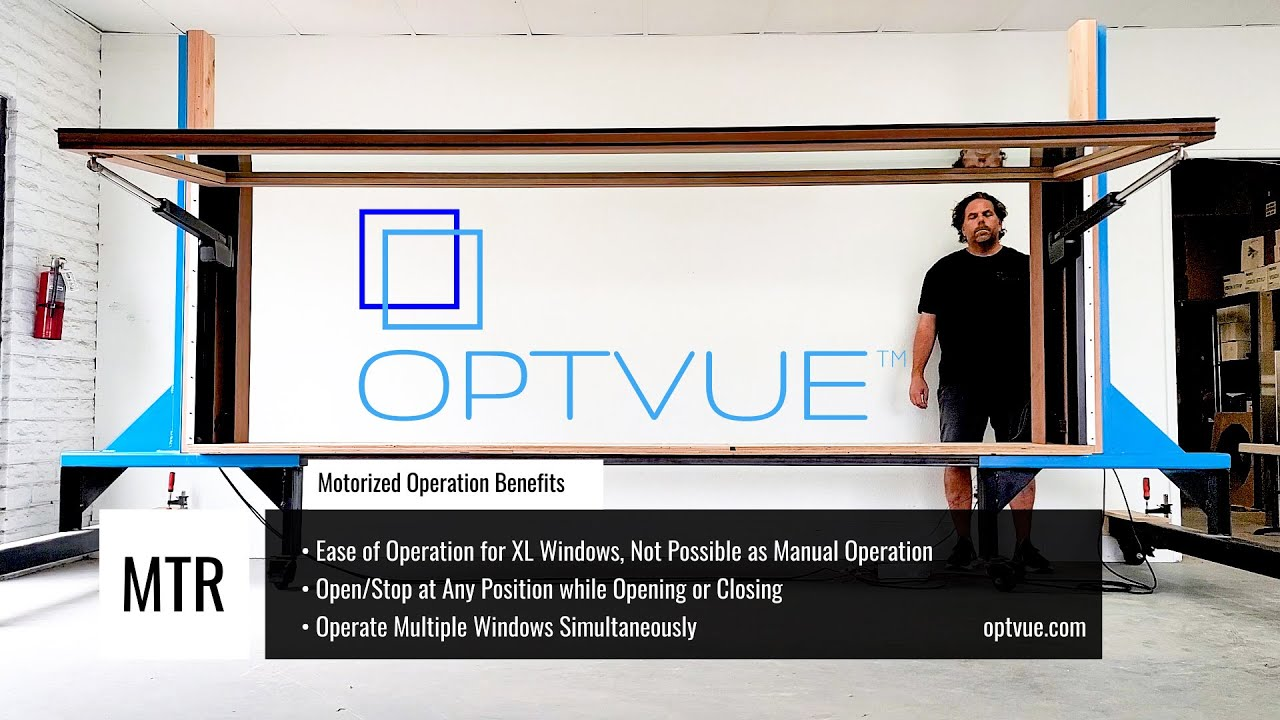 OPTVUE™ Motorized Awning Pass Through Window, push button operation.