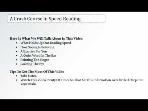 A Crash Course In Speed Reading
