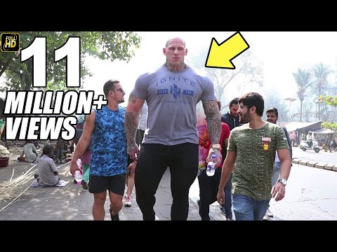 World Biggest Bodybuilder Martyn Ford Walking On Mumbai Streets