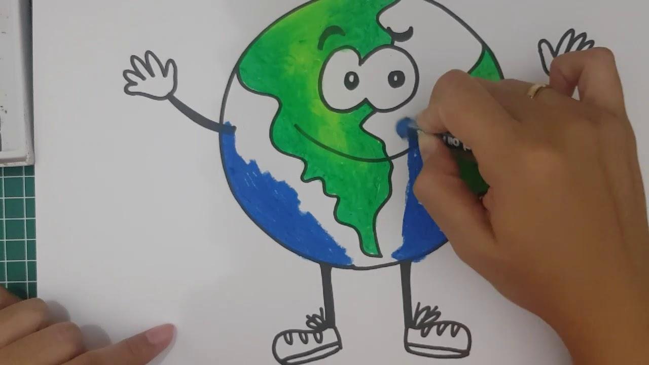 How To Drawing Earth Cara Menggambar Bumi Youtube