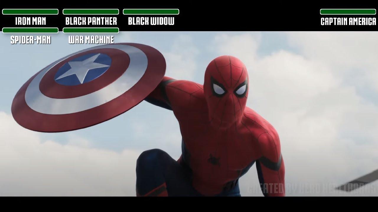 Download Team Iron Man vs. Team Cap Airport fightWITH HEALTHBARS (Part 1) HD   Captain America: Civil War