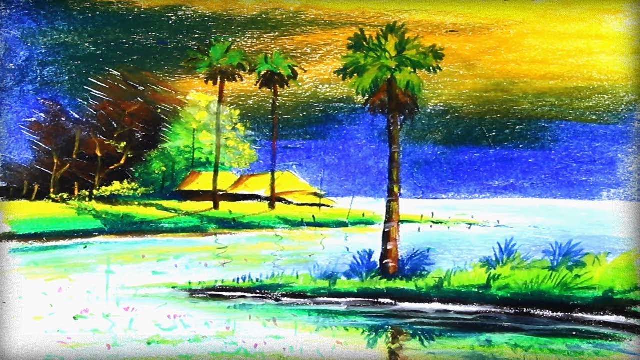 Oil Pastel Painting Nature Village Scenery In Beautiful Landscape Dra Landscape Drawings Oil Pastel Scenery Paintings