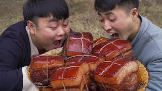 8 ponds of streaky meat to make a luxurious Dongpo meat,It's delicious to eat full of fat meat!