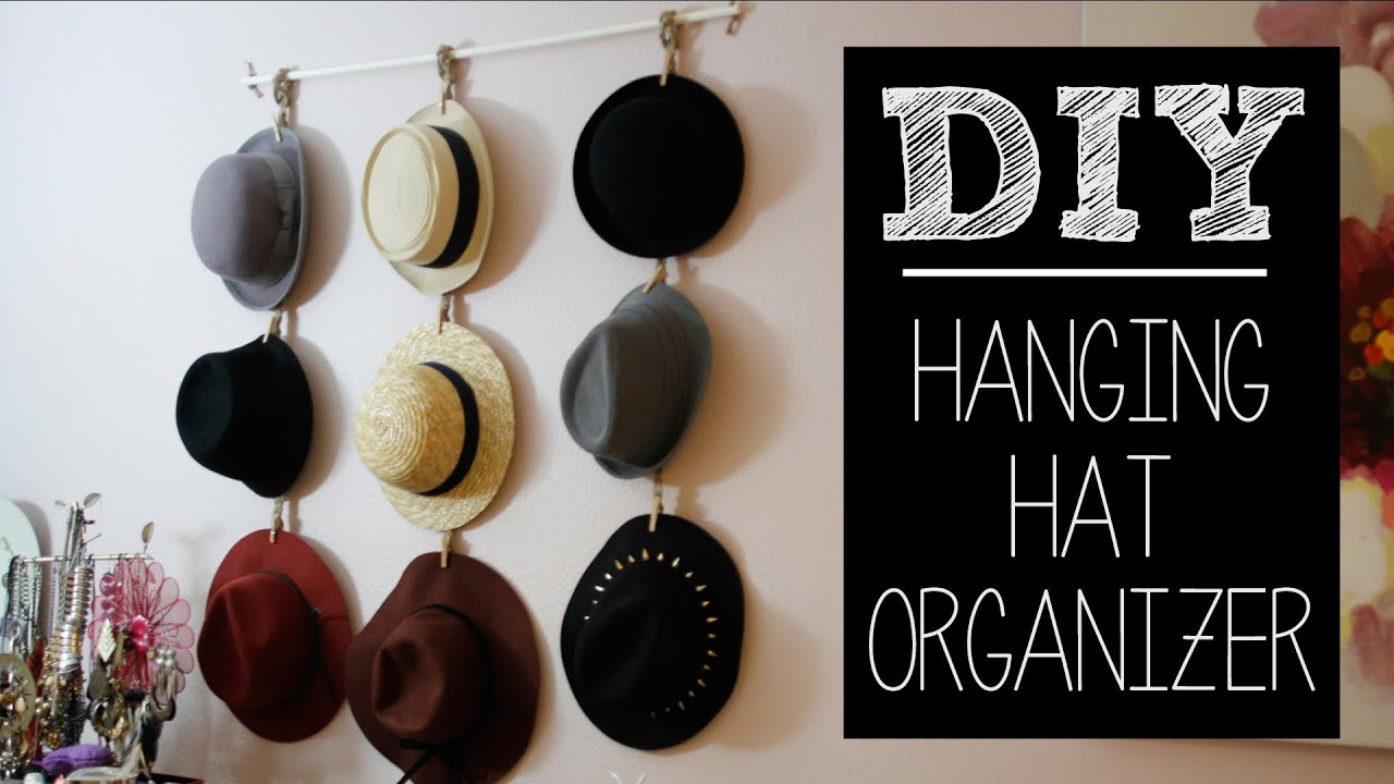 Diy hat hanger organizer easy beautybitten youtube for Hat hanging ideas