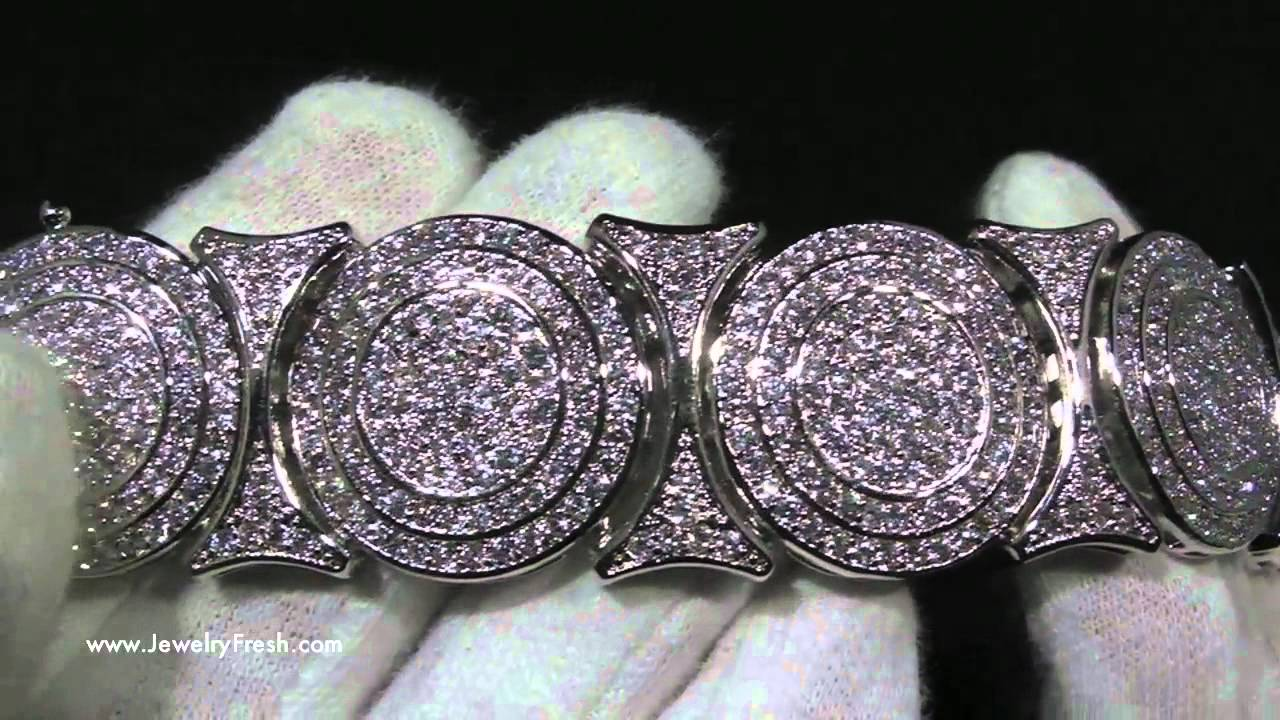 Rhodium Iced Out Bullseye Disc Design High End Mens Bling Bracelet