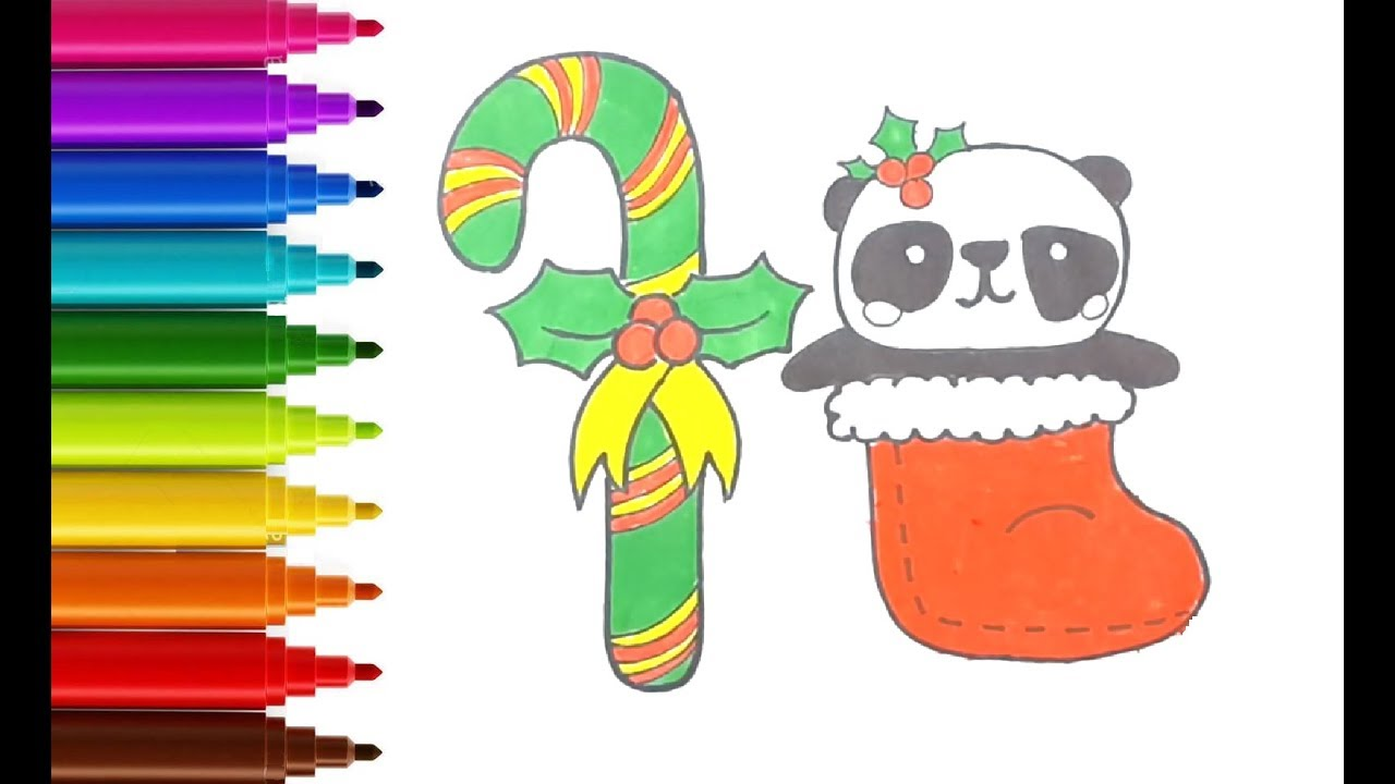 how to draw and color christmas stuff things cute candy cane