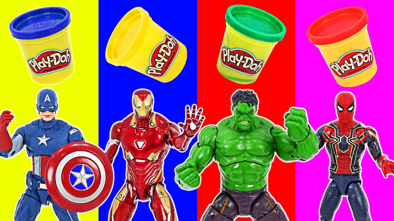 Download Marvel Avengers Hulk, Iron Man, Spider-Man! They ate Play-doh and got bigger! | DuDuPopTOY