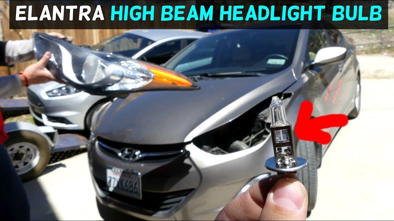 Hyundai Elantra High Beam Headlight Bulb Replacement 2011 2012 2013 2014 2015 2016