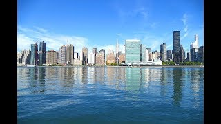 Manhattan Skyline and East River on a sunny day, New York City Waterfront