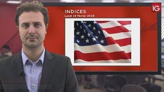 Bourse - Dowjones, a corrigé la moitié de sa récente chute - IG 19.02.2018