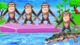 Five little Monkeys Jumping on the bed Nursery Rhymes Song for Kids | Animals Cartoons For Children