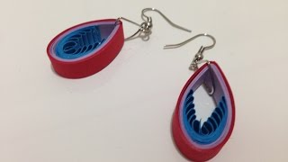 Quilling Earrings Drop Blue