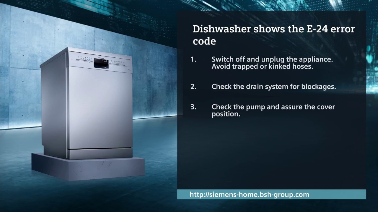 How do I check my dishwasher when the E-24 error code is shown?