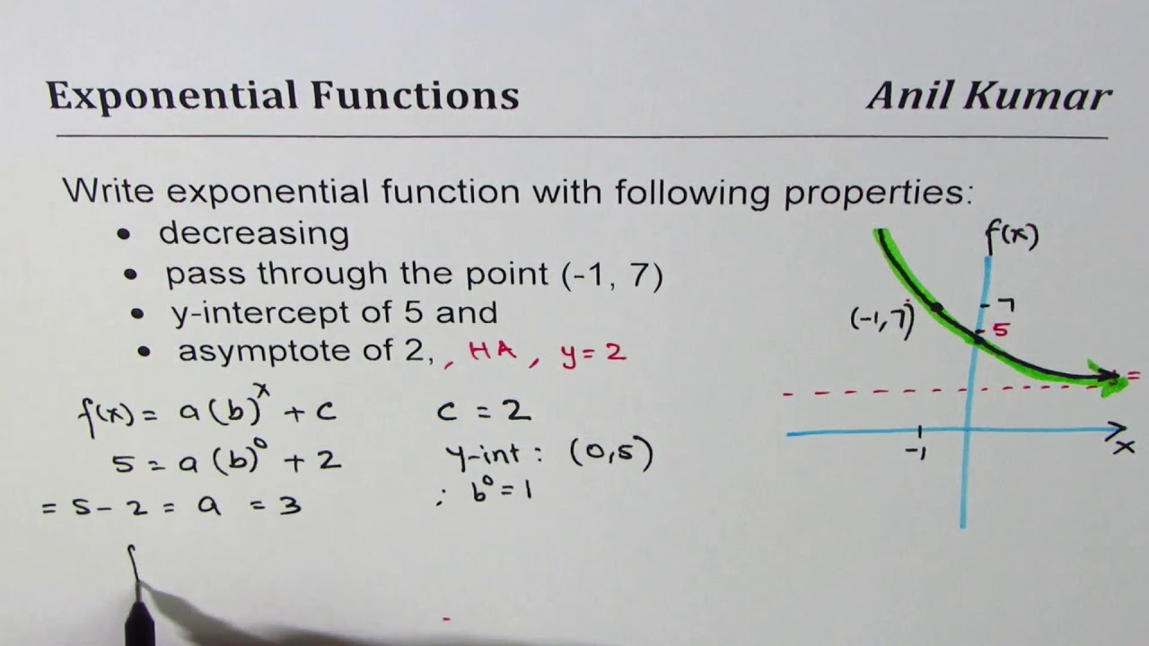 writing equations of exponential functions given two