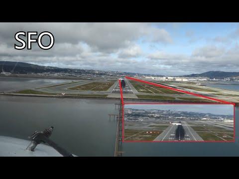 Crossing airplane very close. Landing in San Francisco (KSFO) Cockpit view