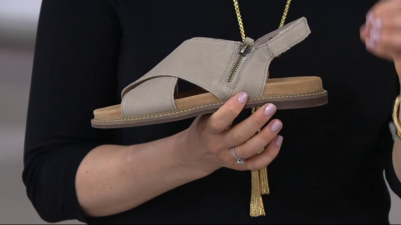 5226375b5c8 Clarks Artisan Leather Cross Band Sandals - Corsio Calm on QVC - YouTube