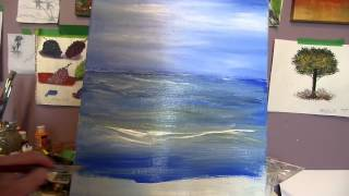 One step waves Acrylic Painting lesson 2