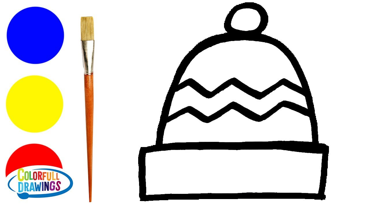 Winter Cap Drawing and Coloring   Simple Painting Image for Kids, Toddlers