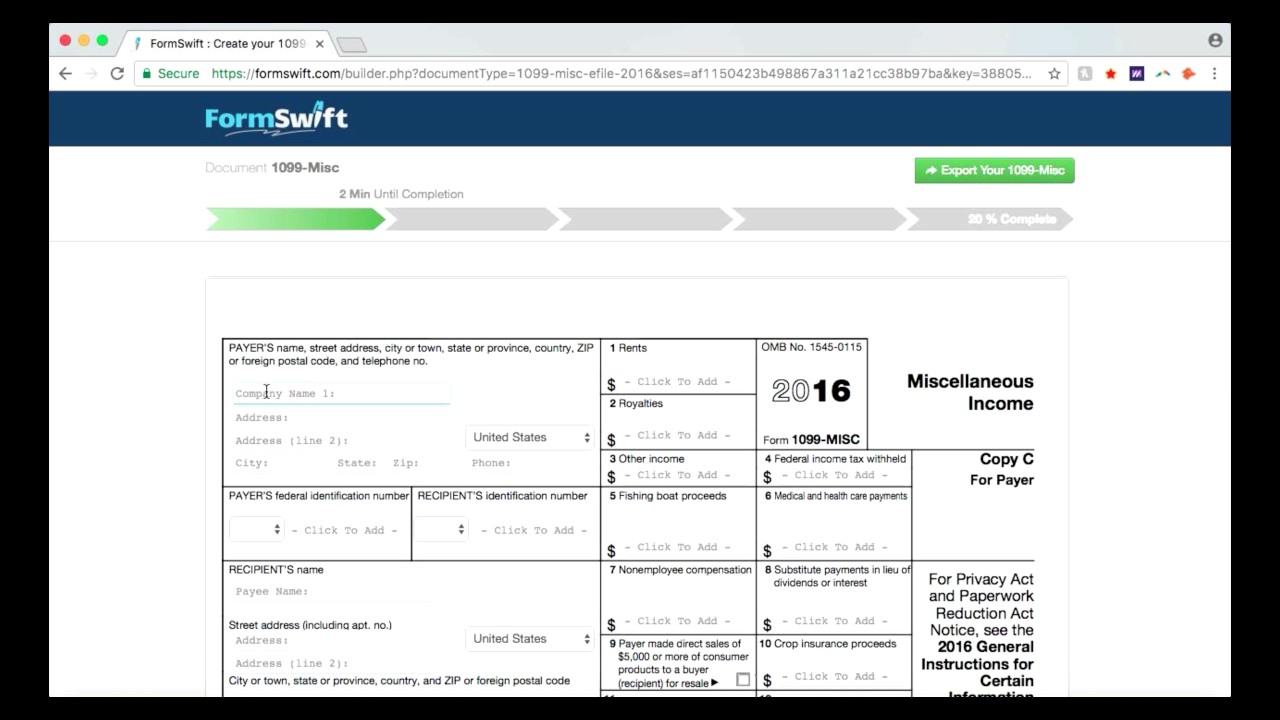 1099-MISC Tax Form: Complete Your 1099 Form Online with FormSwift ...