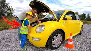 Pretend Play with cars stories for boys | VW Beetle yellow CAR and Timko